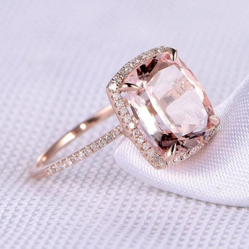 Pink Cushion /& Round White Diamond Ring Halo Wedding Ring Engagement Ring For Women Solitaire With Accents Diamond Ring Handmade Ring