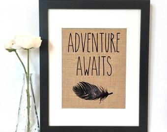 Adventure Awaits Burlap Print // Nursery // Nursery Decor // Boys Room Decor