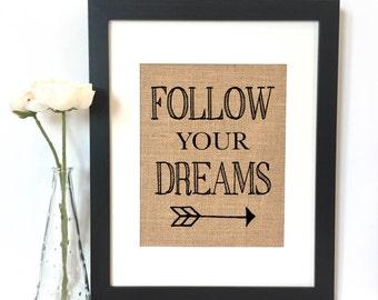 Follow Your Dreams Arrow Burlap Print // Nursery // Nursery Decor // Boys Room Decor // Kids Room Decor