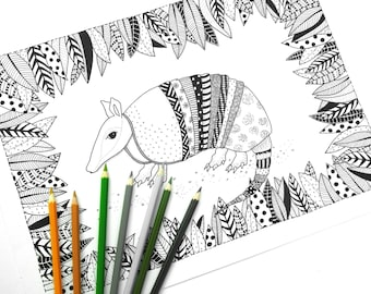 Armadillo - Colouring Page - Adult Colouring Page - Adult Coloring Book - Color Page - Printable Coloring Pages - Adult Colouring Book