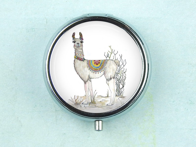 Personalized Small Travel Box for Pills with the Llama Illustration
