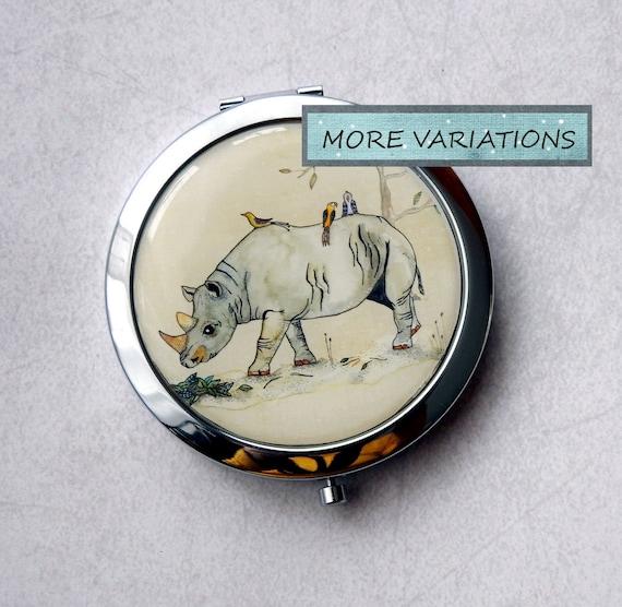 Rhinozeros Handspiegel Taschenspiegel Runder Spiegel Kleiner Spiegel Handspiegel Rhinozeros Bild Magnifying Mirror