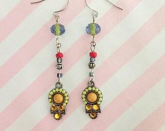 Boho silver dangle earrings