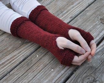 Outlander inspired fingerless gloves, Claire's gloves, red knit fingerless gloves, knit arm warmers, hand knit gauntlet