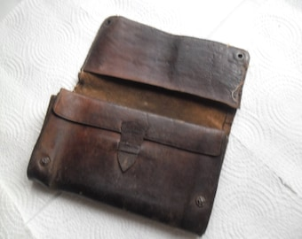 Antique Genuine Leather 1904.Brown Wallet,Shabby Chic Men's Wallet,Vintage Brown Leather Men's Wallet,Gift For Him,Vintage Men's Wallet
