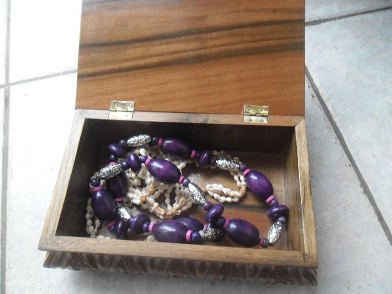 Vintage 70s Wooden Jewelry Box,Handmade Grape Motives Box,Gift For Her,Folk Art
