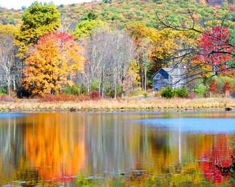 Fall Photography, Fall Foliage, Barn Art, Wall Art, Wall Decor, Rustic, Landscape Photography, Autumn