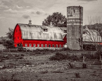 Red Barn Decor, Landscape Photography, Countryside Photography, Selective Color Photography, Farm Decor