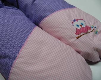 Still cushions, purple pink, owl, 190 cm long, large breastfeeding cushion, storage cushion
