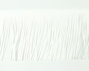 Fringe band Velour leather 12 cm color white