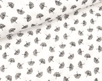 Cotton double Gauze leaves black on white (7.90 EUR/meter)