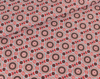 Cotton Lia flower ornaments red (9,90 EUR / meter)