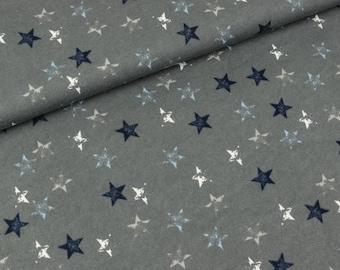 Baumwollsweat Colorful stars on grey (14.90 EUR/meter)