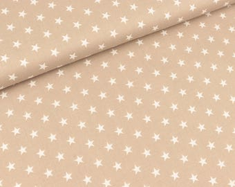 Cotton fabric Carrie Stars white on beige (8.90 EUR/meter)
