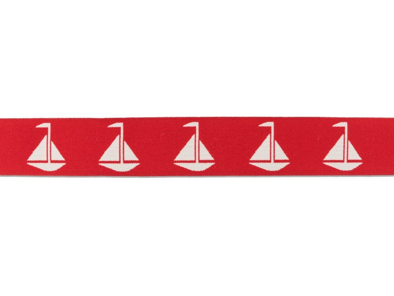 1 m Rubber Band sailing ships-40 mm wide-red-white