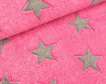 Kuschelfleece stars Grey on pink (11.90 EUR/meter)
