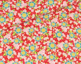 Cotton of flower parade red stained flowers (10.90 EUR / meter)