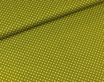 Stenzo cotton poplin Polka dots white on olive (9.00 EUR/meter)