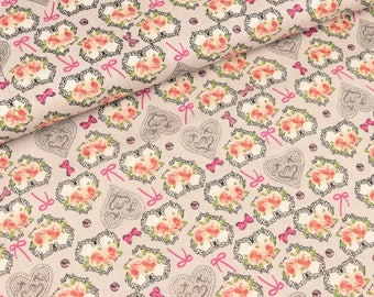 Cotton fabric rose hearts on light grey (8.50 EUR/meter)