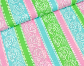 Cotton fabric strips with flower ornaments (8,00 EUR / meter)