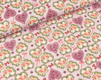 Cotton fabric flower hearts and bows colorful on lilac (9.50 EUR/Meter)