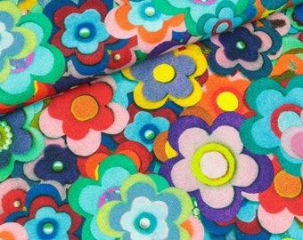 Furnishing fabric Mila Colorful felt flowers digital print (19.80 EUR/meter)