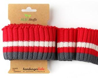 Cuff me cozy stripes cuff flame-meringa-carbon