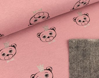 Alpenfleece Bears with glitter crown old Rose (16.50 EUR/Meter)