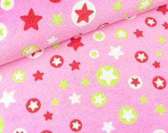 Wellnessfleece Fluffy stars and star circles on pink (8.90 EUR/meter)