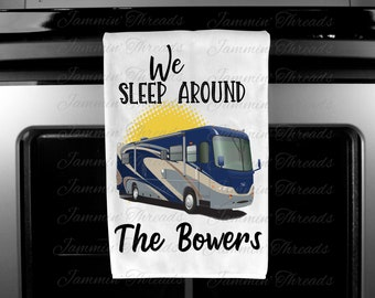Personalized Camper Towels/FREE SHIPPING/Happy Campers/We Sleep Around/Funny Camping Towels/retirement gift/camping gift/camper gift/campers