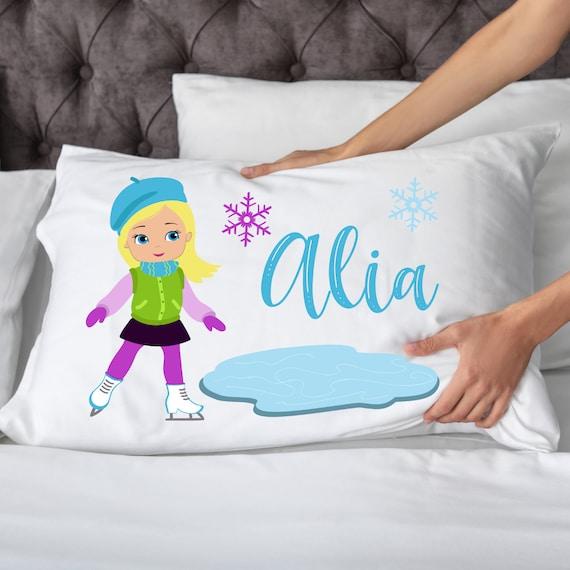 Ice Skating PillowcaseFREE SHIPPINGskater pillowpersonalized skatingice skatingskating giftsleepover giftice skaterice skates gift