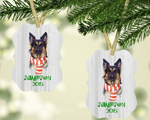 German Shepherd Christmas Ornament Free Shipping Personalized Etsy