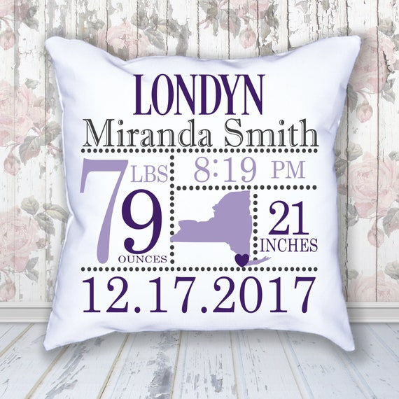 Birth Announcement Pillow Personalized