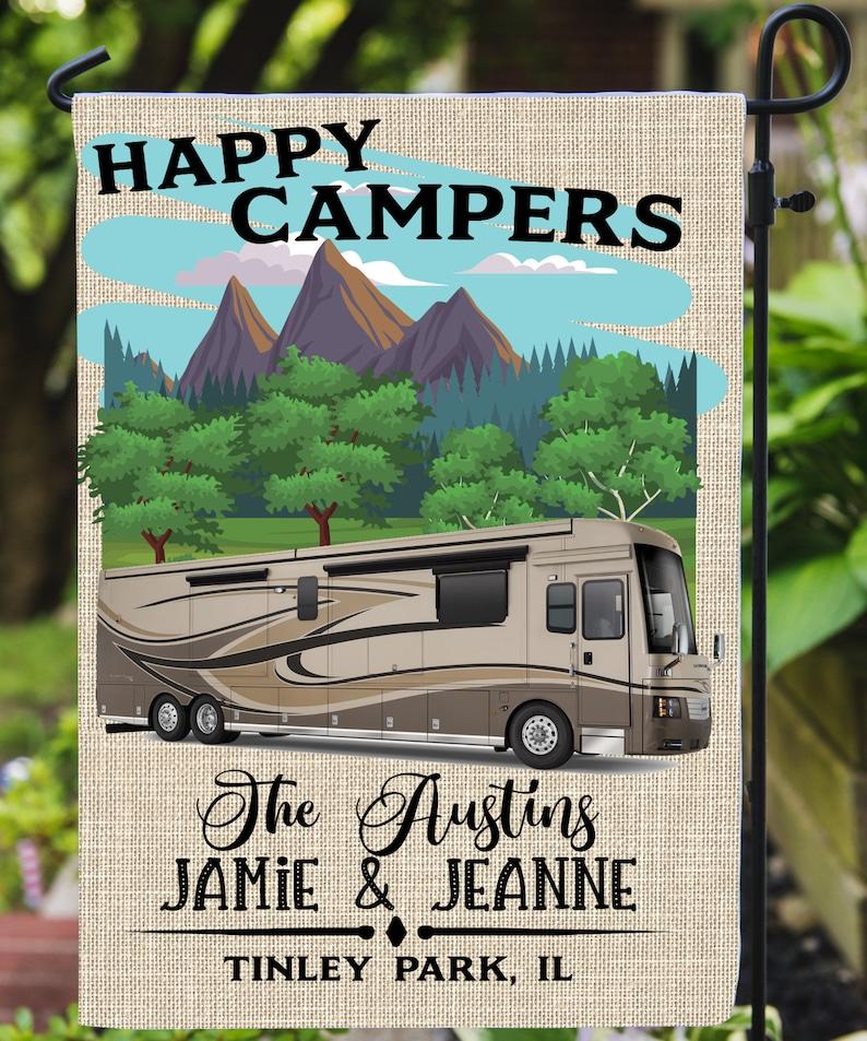 Happy Camper Garden Flag/FREE SHIPPING/Motorhome/RV/Personalized Garden  Flag/Motor Coach/Retirement Gift/Motorhome gift/camper/camping/camp