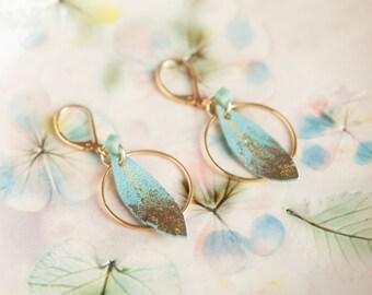 Green feather earrings, Leather earrings, Feather earrings, Leather feather earrings, Boho earrings, Bohemian earrings, lightweight earrings