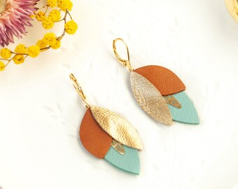 Bridesmaid/'s Gift Made in France Gold Brown Blue Leather Petal Earrings Earrings