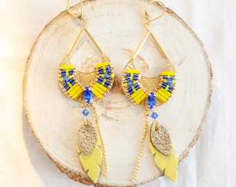 Blue and Yellow Dangle Earrings, Statement Earrings, Summer Earrings, Yellow Leather Earrings, Gold Plated Earrings, Seed Beads Earrings