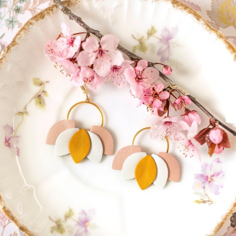 Large floral earrings Circle drop flower earrings White Rose Yellow petal hoop earrings