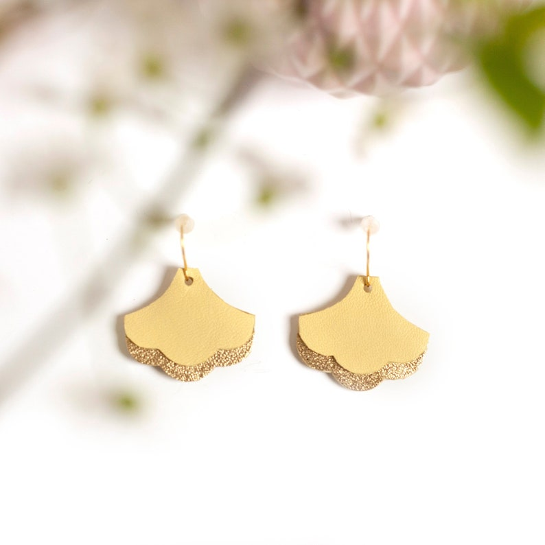 Two Colors Leather Earrings Gift Idea for Mother/'s Day Dangle Earrings Yellow and Gold Ginkgo Leaf Earrings Handcut in Leather