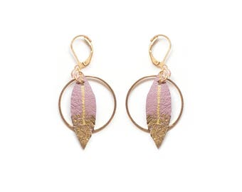 Grey Rose leather earrings, bohemian hoop earrings, feather earrings, golden hoop earrings, bohemian earrings, Valentine's day, Dainty Jewel