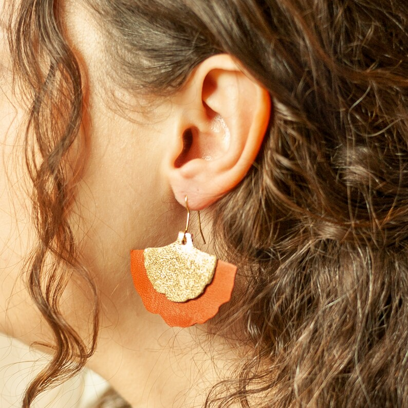 Mustard Yellow Leather Ginkgo Biloba Lever Back Leaf Earrings Earrings Yellow and Gold Leather Earrings for Woman Natural Leaf Jewelry