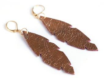 Romantic style wedding earrings, Rose gold drop leather earrings, long leather earrings, rose gold leather feathers, feather drop earrings