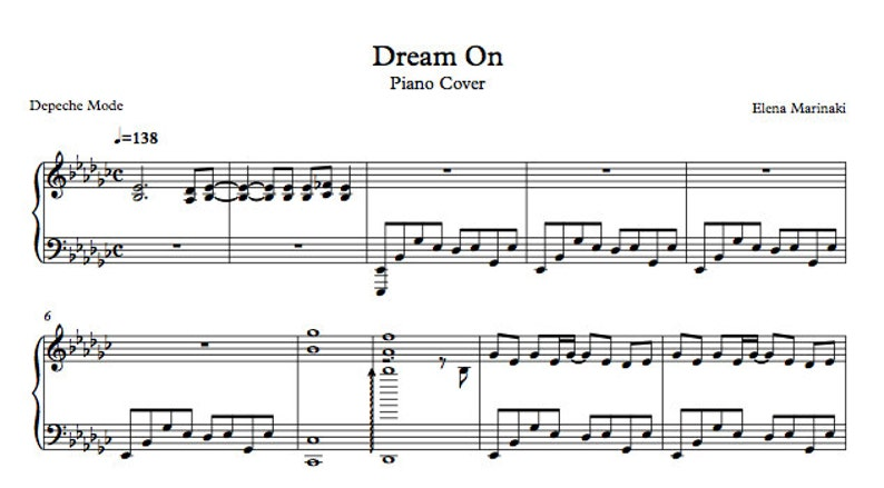 DOWNLOADABLE  Dream On  Piano Cover by Rhapsodyenmauve image 0