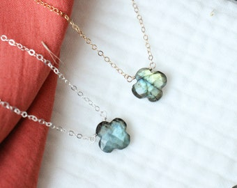 ASTER Minimalist Collection CHRYSOCOLLE necklace in 925 silver and chrysocolle semi-precious stone