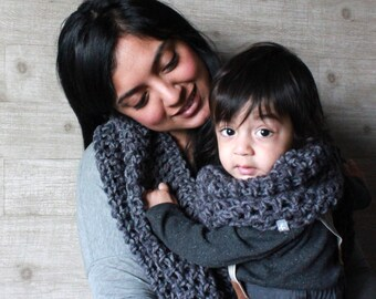 Kayden Pair: Crochet Adult & Toddler Infinity Scarf