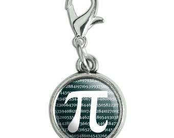 Pi math geek nerd 3.14 antiqued bracelet pendant zipper pull charm with lobster clasp