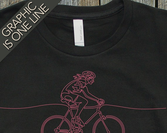 Woman's Cycling T-Shirt, Gift for Girl Cyclist, Ladies Cycling T-Shirt, Women's Cycling Gift, Cycling Art, Bicycling T-Shirt, Cool T-Shirts,