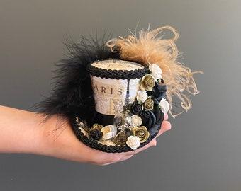 Micro mini top hat mini hat Paris Eiffel Tower vintage mad hatter tea party