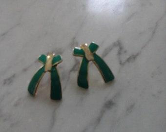 Vintage enamelled Bow Earrings