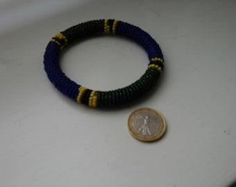 Beaded bracelet in green and blue